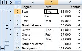 Esquema con subtotales y total general