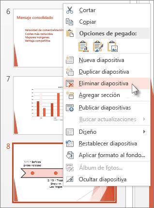Haga clic con el botón secundario en una miniatura de diapositiva y haga clic en Eliminar diapositiva.