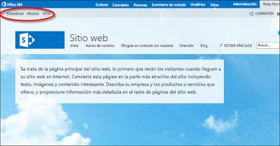 Diseño de página predeterminado de sitio web público de Office 365