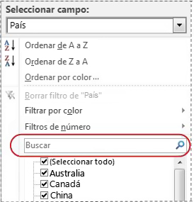 Cuadro de búsqueda en la lista de filtros