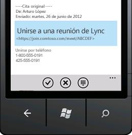 Captura de pantalla que muestra Unirse a una reunión de Lync desde su dispositivo móvil