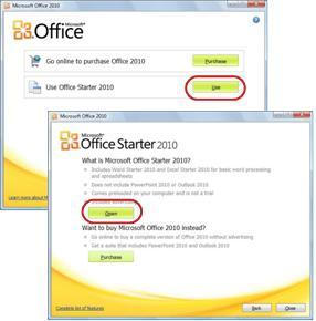 Primer uso de Office Starter
