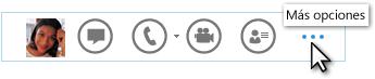 Captura de pantalla del menú rápido de Lync que muestra Más opciones
