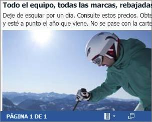 Documento de Word insertado de un folleto comercial de esquí