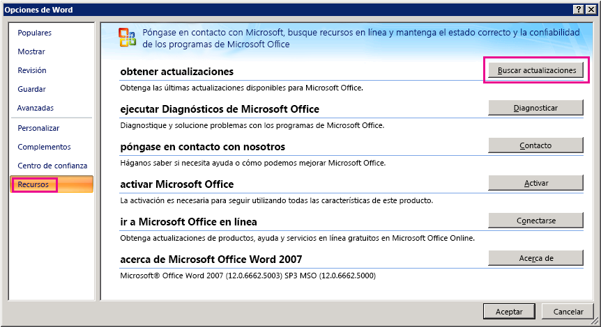 Buscar actualizaciones de Office en Word 2007