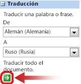 Cuadro de diálogo Traducción