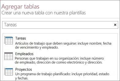 Cuadro de búsqueda de la plantilla de la tabla en la pantalla de inicio de Access.