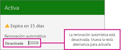 Captura de pantalla de la suscripción que muestra la alternancia de la renovación automática