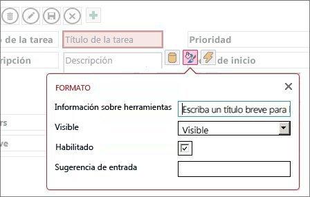 Vista en modo Edición que muestra la configuración de Formato de un cuadro de texto.
