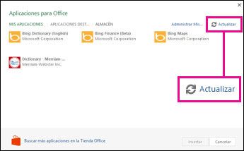 Botón Actualizar de Aplicaciones para Office