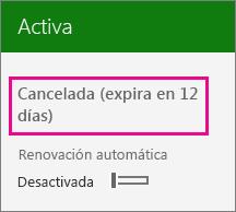 Captura de pantalla que muestra una suscripción con la renovación automática desactivada