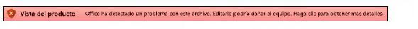Vista protegida de un error de validación de archivo
