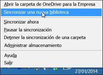 OneDrive para Business menú en el área de notificación de Windows