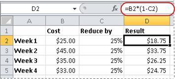 Ejemplo de fórmula para calcular un porcentaje