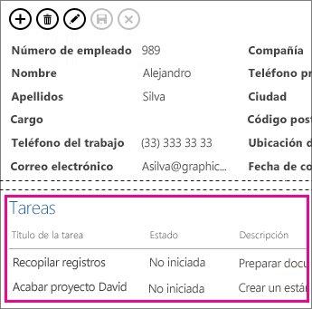 Una vista de una aplicación de Access con tareas mostradas en un Control de elementos relacionados.