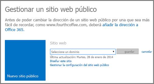 Diálogo Administrar sitio web público, en que se muestra Seleccionar un dominio.
