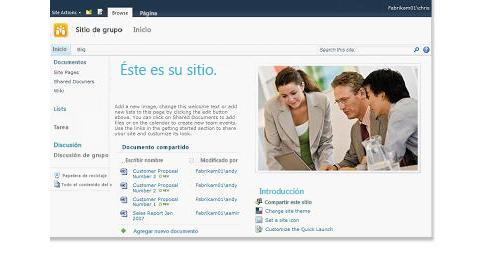 Sitio de grupo de SharePoint