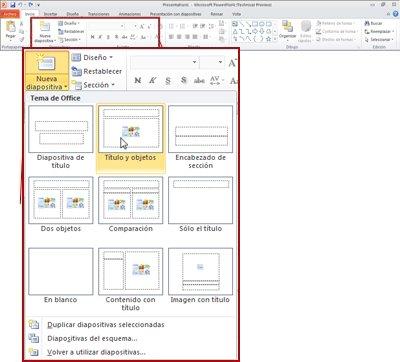 Ficha Inicio en PowerPoint 2010 mostrando el grupo Diapositivas.