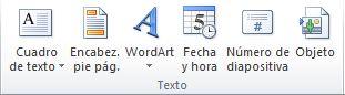 El grupo Texto en la pestaña Insertar en la cinta de opciones de PowerPoint 2010.