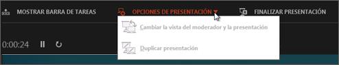 Configuración de pantalla en la Vista moderador