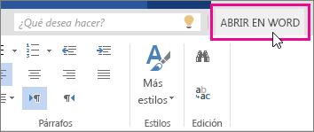Abrir en Word desde la Vista de edición en Word Online
