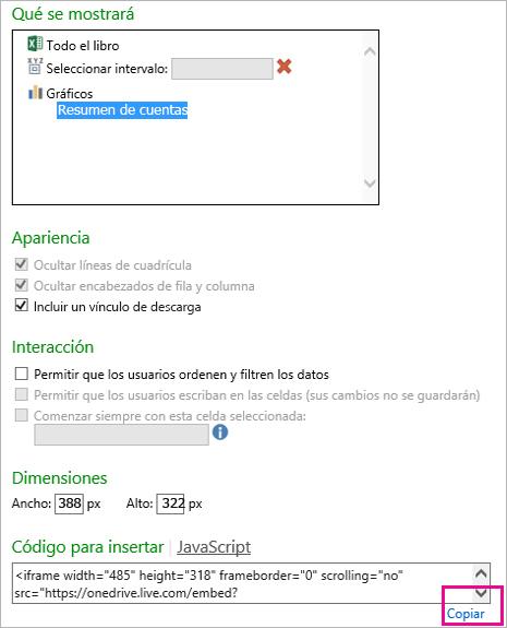 Opciones de configuración para la inserción