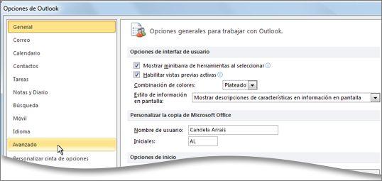 El comando Opciones avanzadas del cuadro de diálogo Opciones de Outlook