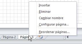 Menú de botón secundario de la ficha de página