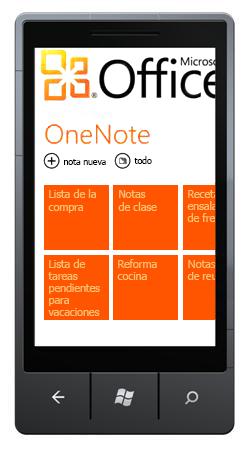 Hub de OneNote Mobile 2010