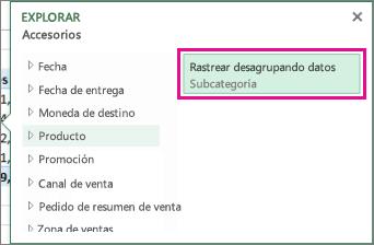 Botón Rastrear desagrupando datos en el cuadro Explorar