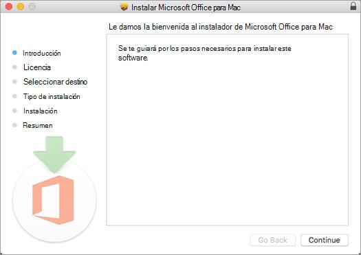 """Primera pantalla de instalación de Mac 2016 con """"Continuar"""" resaltado"""