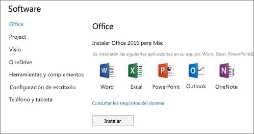 La pantalla instalar software de la Configuración de Office 365 en un equipo Mac
