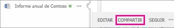 Captura de pantalla del botón Compartir