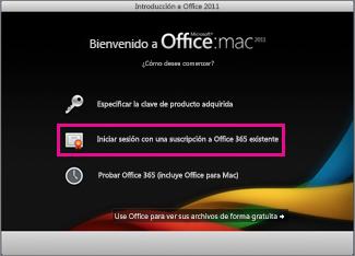 Página de instalación doméstica de Office para Mac donde inicia sesión con una suscripción a Office 365 existente.