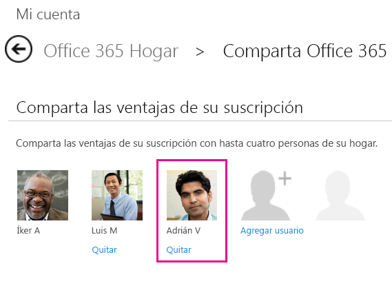 """Captura de pantalla de la página Compartir Office365 con la opción de usuario """"Quitar"""" seleccionada."""