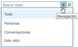 Captura de pantalla del cuadro de búsqueda