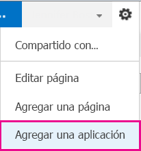 Captura de pantalla del menú Configuración con el vínculo del botón Agregar una aplicación resaltado
