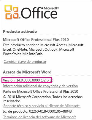 Número de versión deOffice