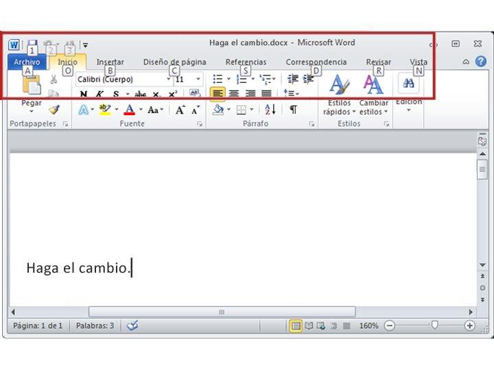 Ficha Inicio en Word 2010 con KeyTips visibles