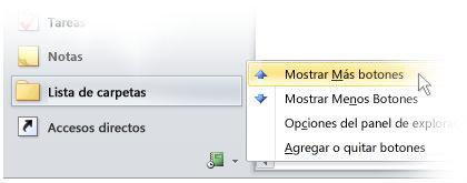 Seleccionar botones en el panel de exploración de Outlook 2010