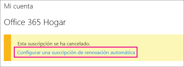 """Captura de pantalla del vínculo """"Configurar suscripción de renovación automática""""."""