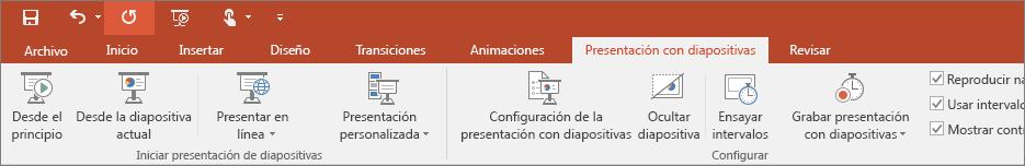 Muestra la pestaña Presentación con diapositivas en la cinta de opciones de PowerPoint.