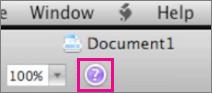 Haga clic en el símbolo de interrogación para abrir la Ayuda de Office para Mac.