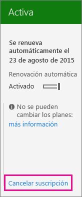Captura de pantalla de la página de suscripción con el vínculo Cancelar suscripción resaltado.