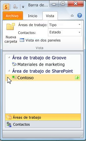 Área de trabajo de SharePoint en la barra de inicio