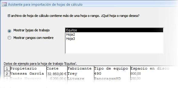 Asistente para importación, pantalla 1