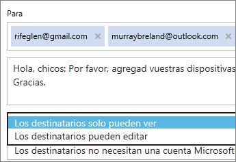 Selección de las opciones de ver solo e inicio de sesión obligatorio en el correo electrónico de invitación