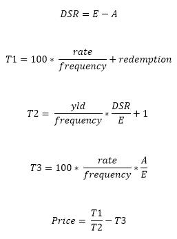 Fórmula PRECIO cuando N <= 1