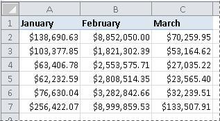 Números con formato de moneda