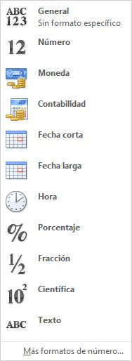 Galería de formatos de número